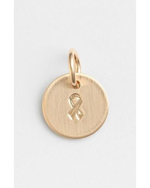Nashelle | Metallic Breast Cancer Awareness Ribbon Mini Stamp Charm | Lyst