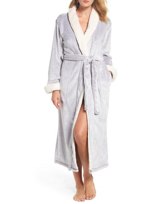 Natori - Gray Plush Velour Robe - Lyst