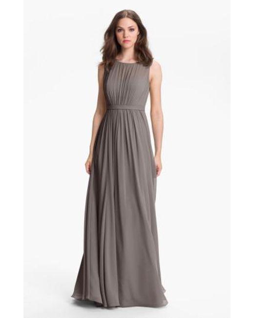 Jenny Yoo   Gray 'vivienne' Pleated Chiffon Gown   Lyst