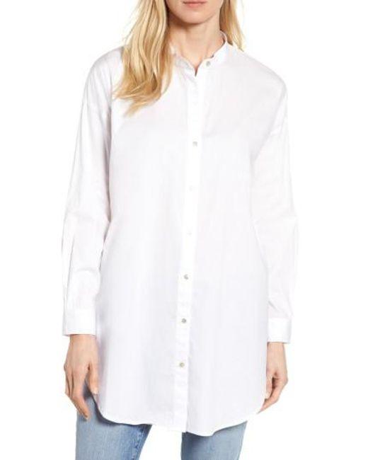 Eileen Fisher | White Stretch Organic Cotton Mandarin Collar Tunic | Lyst