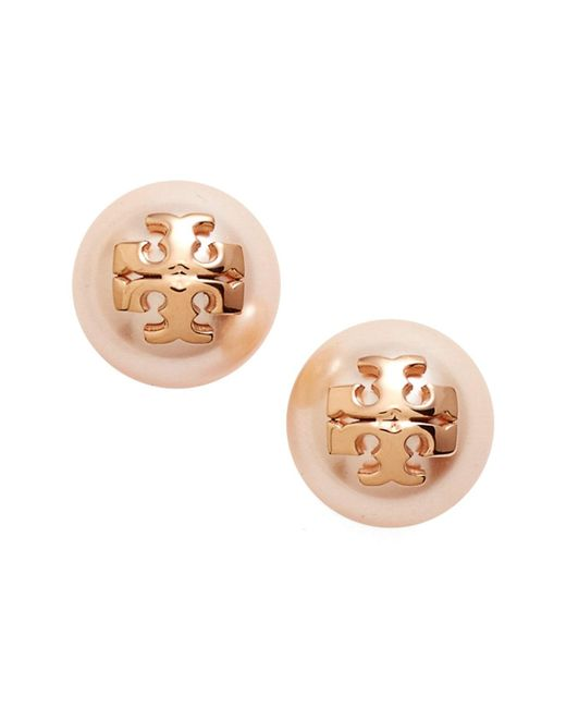 Tory Burch - Metallic Swarovski Crystal Pearl Logo Stud Earrings - Lyst