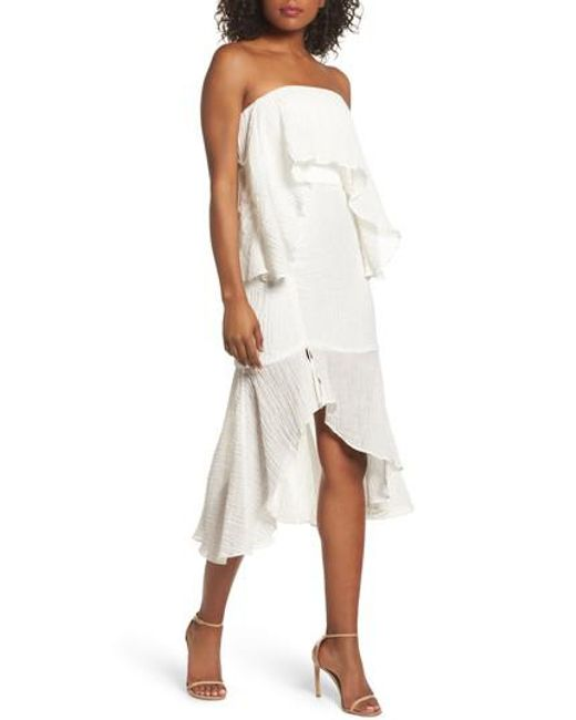 C/meo Collective - White Sacrifices Ruched Off The Shoulder Dress - Lyst