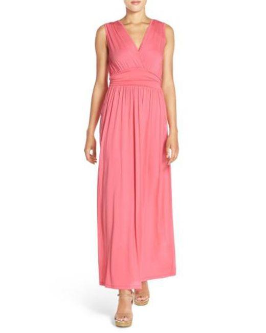 Fraiche By J - Pink Surplice Jersey Maxi Dress - Lyst