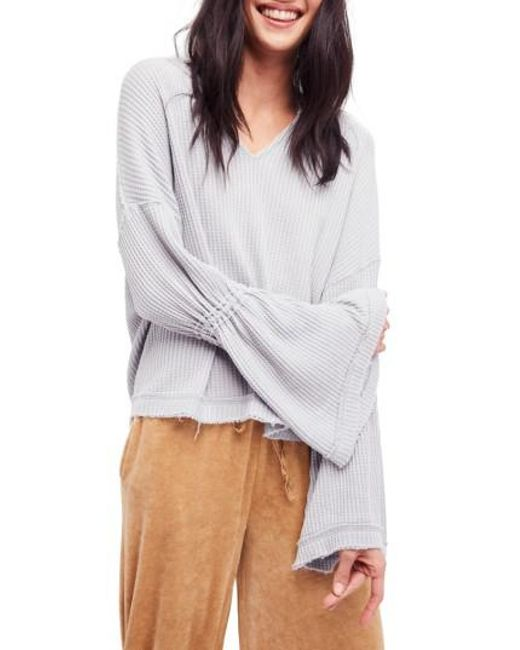 Free People   Gray Dahlia Thermal Top   Lyst