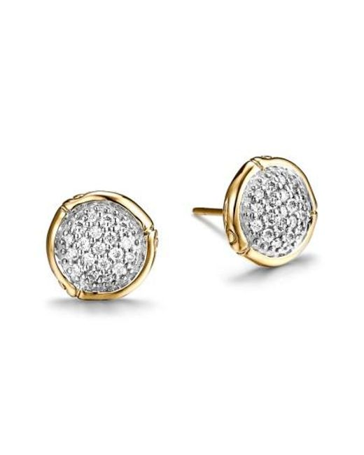 John Hardy - Metallic Bamboo 18k Yellow Gold Diamond Pavé Small Round Stud Earrings - Lyst