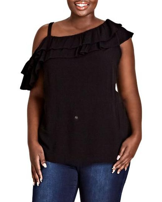 City Chic - Black Shoulder Play Top - Lyst
