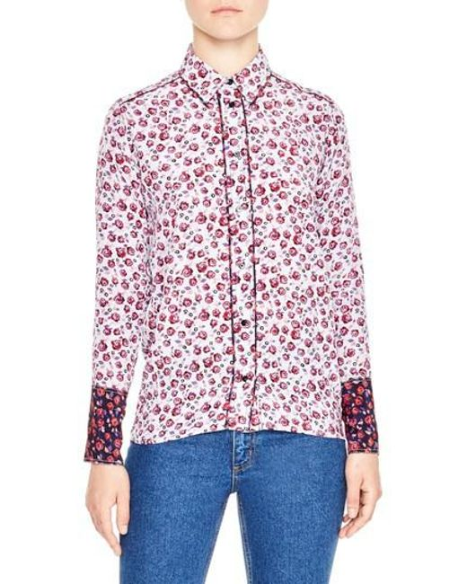 Sandro   Purple Floral Print Silk Shirt   Lyst