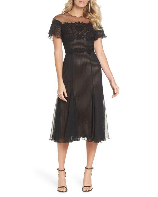 Tadashi Shoji - Black Lace & Chiffon A-line Dress - Lyst