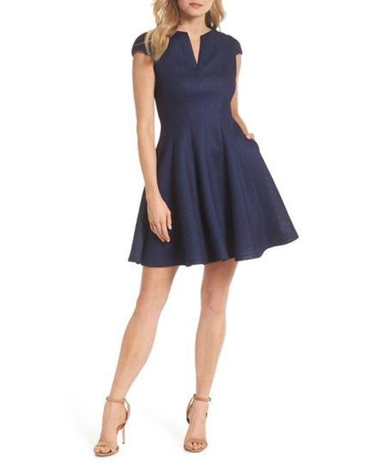 Julia Jordan - Blue Fit & Flare Dress - Lyst