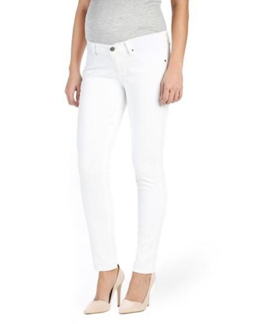 PAIGE | White 'skyline' Ankle Peg Skinny Maternity Jeans | Lyst
