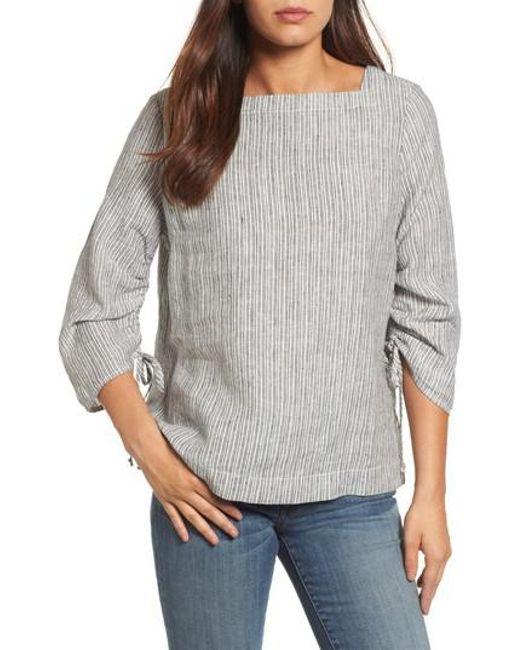 Caslon - Gray Caslon Ruched Sleeve Linen Pullover - Lyst