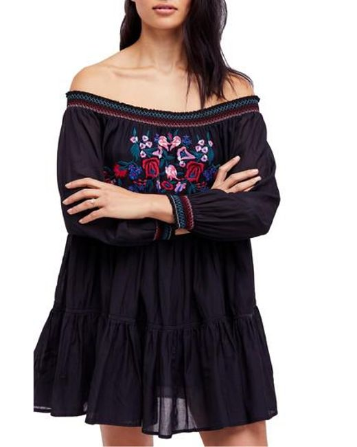 Free People - Black Sunbeams Minidress - Lyst