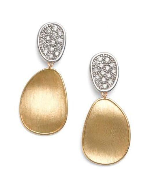 Marco Bicego | Metallic Lunaria Diamond Drop Earrings | Lyst