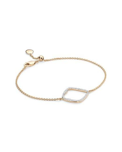 Monica Vinader | Metallic Riva Large Hoop Diamond Bracelet | Lyst
