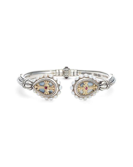 Konstantino - Metallic Etched Sterling Pearl & Ruby Hinged Bracelet - Lyst