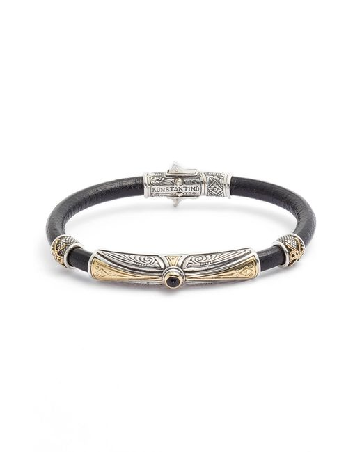 Konstantino - Metallic Stavros Leather Bracelet With Onyx for Men - Lyst