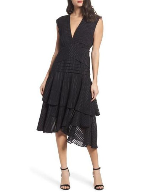 Keepsake - Black Waterfall Burnout Stripe Dress - Lyst