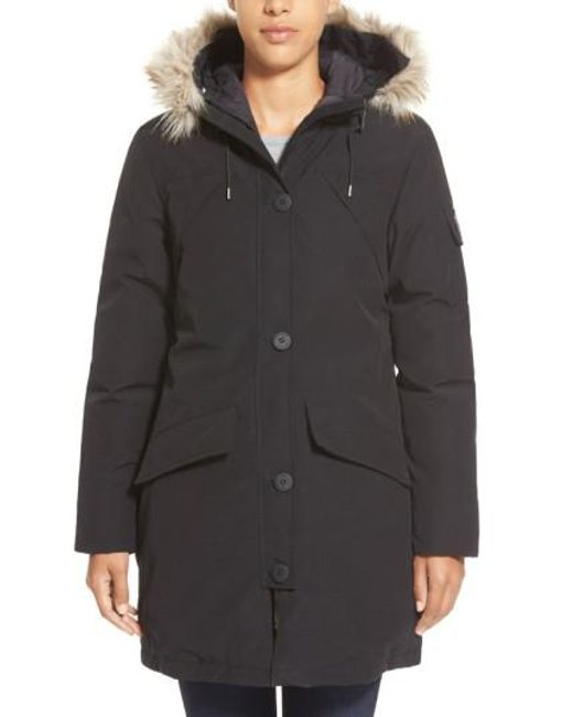 Penfield | Black 'hoosac' Genuine Coyote Fur Trim Down Parka | Lyst