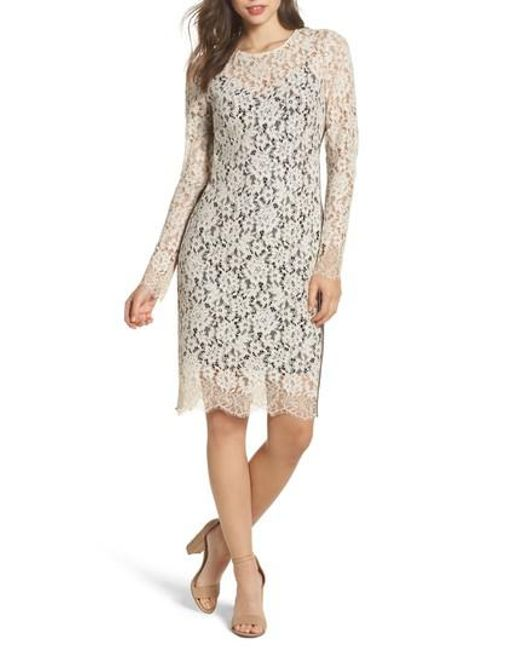 Vince Camuto | White Lace Sheath Dress | Lyst