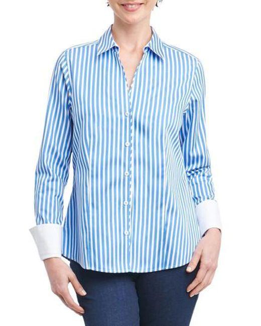 Foxcroft | Blue Lauren Sateen Stripe Shirt | Lyst