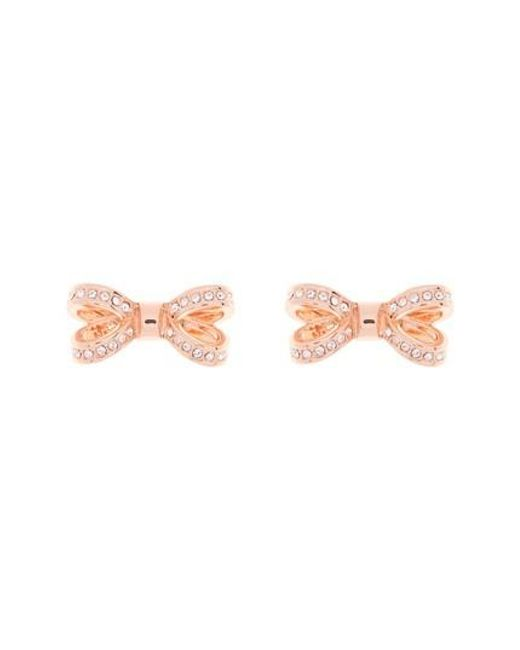Ted Baker   Pink Mini Opulent Pave Bow Stud Earrings   Lyst