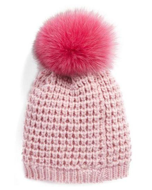 Kyi kyi Genuine Fox Pompom Hat in Pink   Lyst