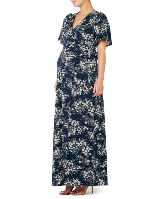 Ingrid & Isabel - Blue Ingrid & Isabel Flutter Sleeve Knit Maternity/nursing Maxi Dress - Lyst