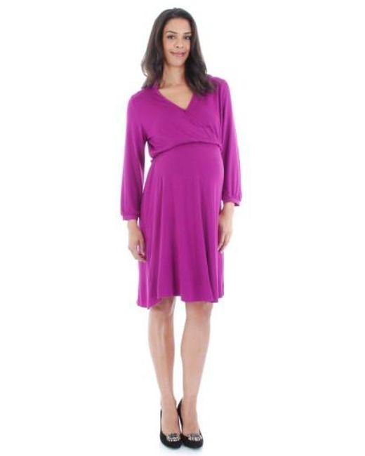 Everly Grey | Purple Sicily Stretch-Jersey Maternity Dress | Lyst