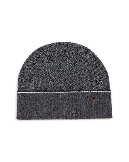 ad8fa26b7c2 Lyst - Ted Baker Knit Cap in Gray for Men