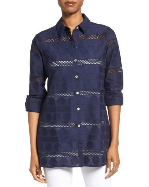 Foxcroft | Blue Circle Eyelet Tunic Shirt | Lyst