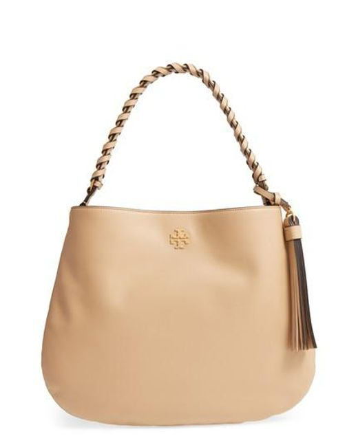 Tory Burch | Natural Brooke Leather Hobo | Lyst