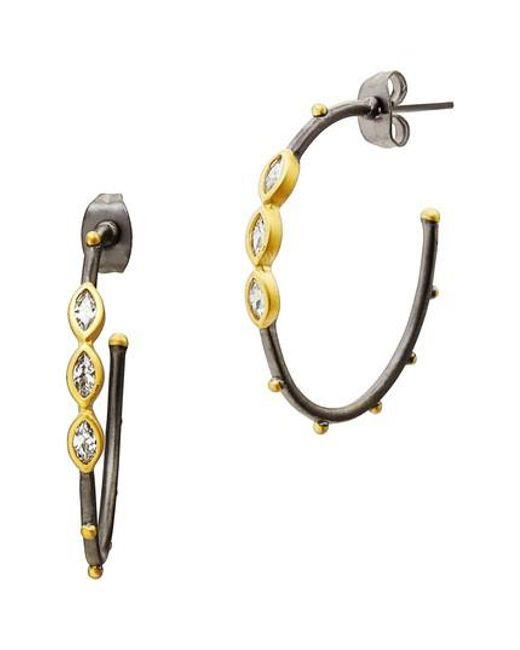 Freida Rothman   Metallic Marquise Station Hoop Earrings   Lyst