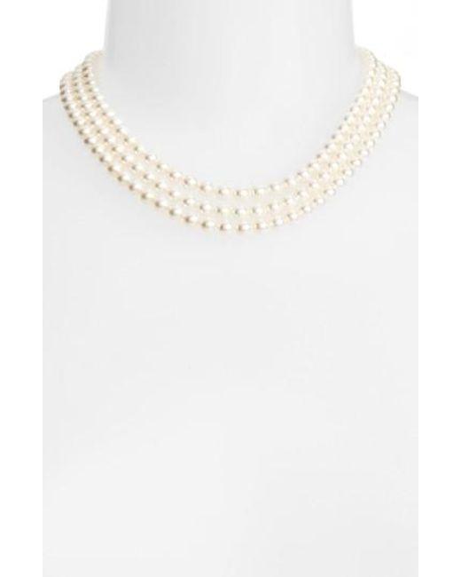 Nadri | Metallic Multistrand Imitation Pearl Necklace | Lyst