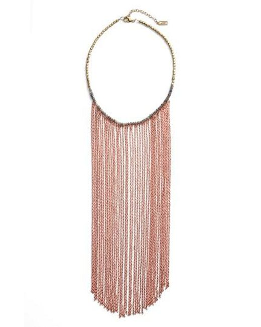 INK AND ALLOY | Pink Ink + Alloy Sirens Fringe Necklace | Lyst