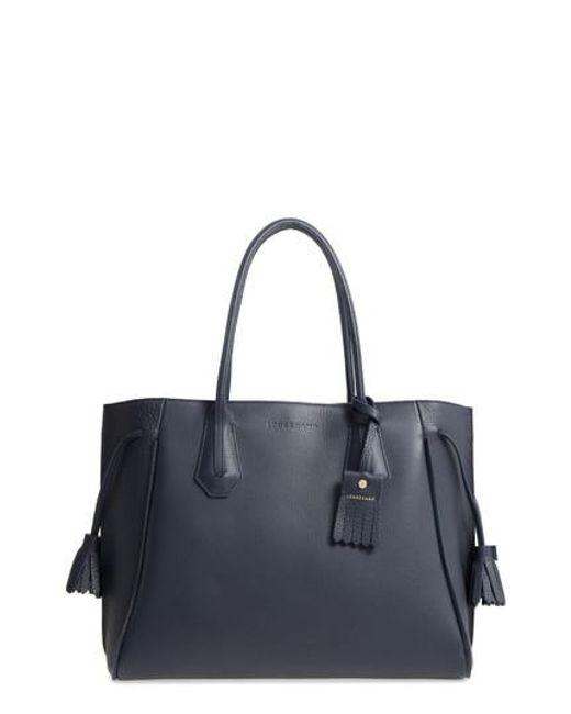 Longchamp - Blue 'penelope' Tassel Drawstring Leather Tote - Lyst