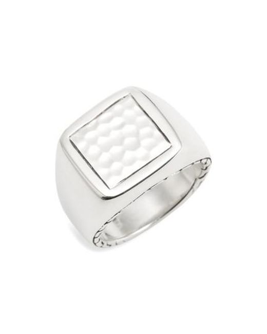 John Hardy | Metallic Classic Chain Hammered Signet Ring | Lyst