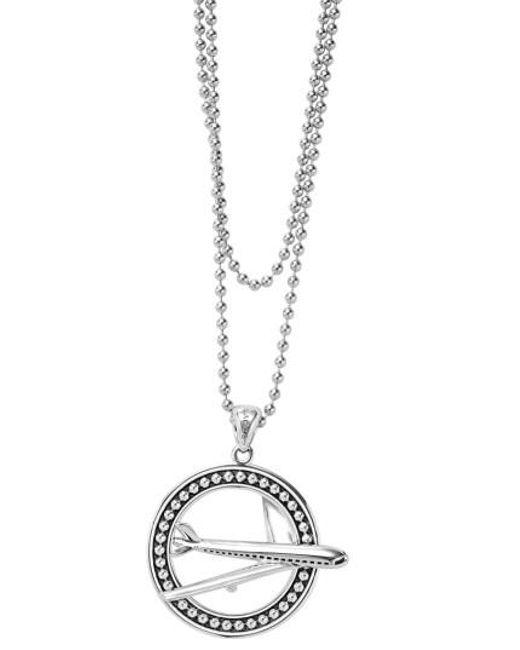 Lagos | Metallic Signature Caviar Plane Pendant Necklace | Lyst