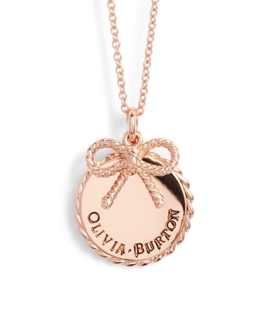 Olivia Burton - Pink Coin Bow Pendant Necklace - Lyst