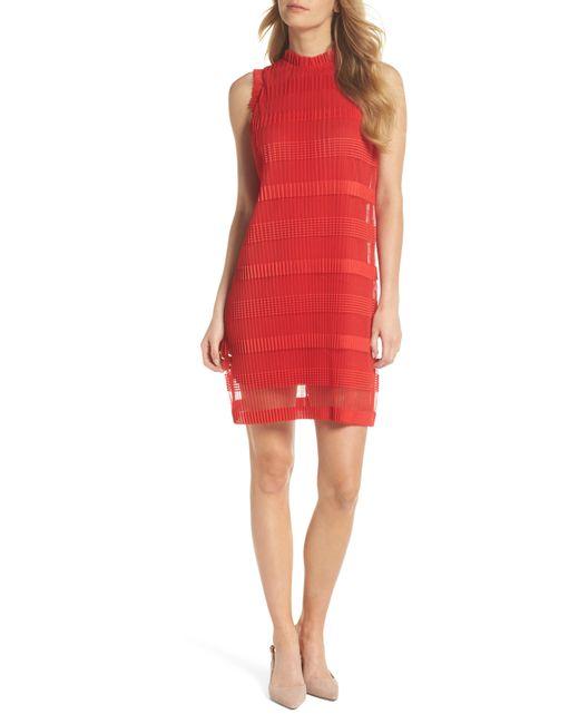 Julia Jordan - Red Stripe Pleated Chiffon Shift Dress - Lyst