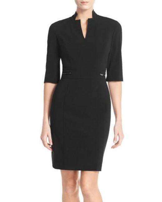 Tahari - Black Bi-stretch Sheath Dress - Lyst