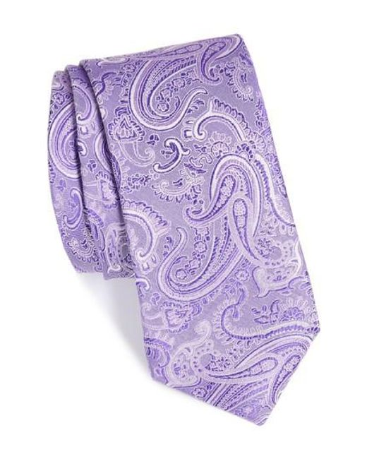 Calibrate | Purple Floating Paisley Silk Tie for Men | Lyst