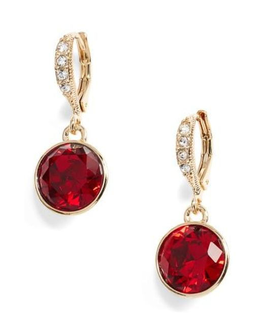 Givenchy | Red Round Drop Earrings | Lyst
