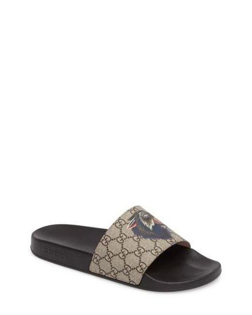 Gucci Men's Pursuit Angry Wolf Slide Sandal ZtAbm