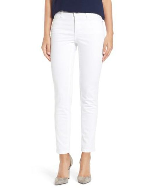 NYDJ | White 'clarissa' Colored Stretch Ankle Skinny Jeans | Lyst