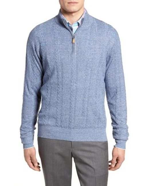Peter Millar - Blue Crown Fleece Cashmere & Linen Quarter Zip Sweater for Men - Lyst