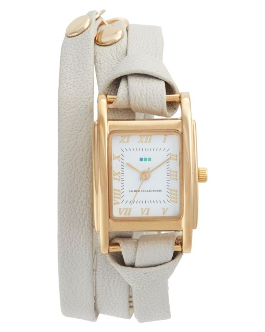 La Mer Collections - Metallic 'milwood' Leather Wrap Watch - Lyst