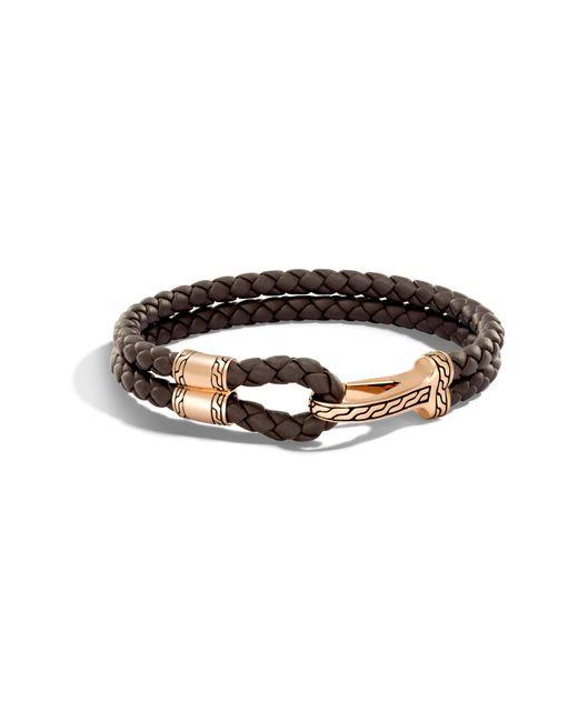 John Hardy - Metallic Classic Double Leather Chain Bronze Hook Bracelet for Men - Lyst