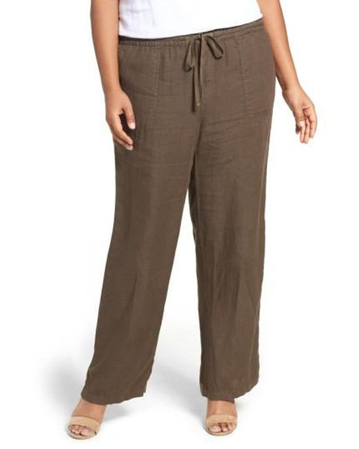 Caslon - Brown Caslon Drawstring Linen Pants - Lyst