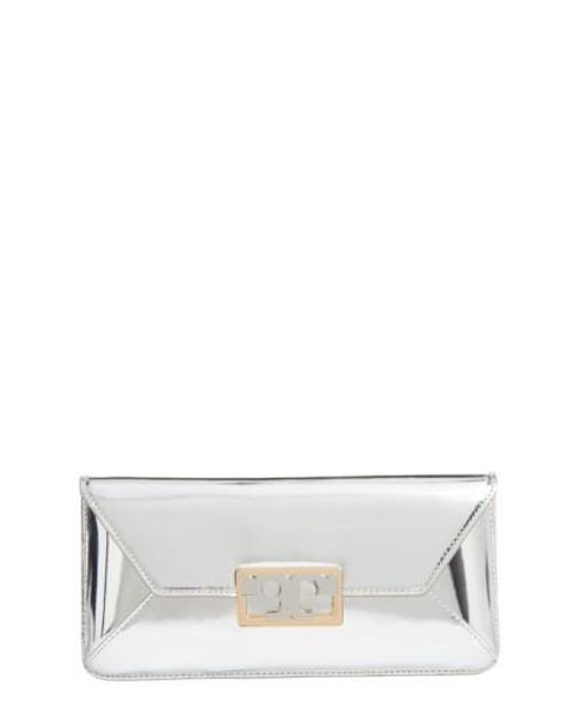 Tory Burch - Gigi Metallic Leather Clutch - - Lyst