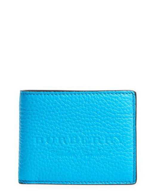 Burberry | Blue Leather Bifold Wallet | Lyst